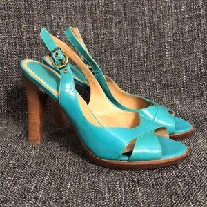 Teal Patent Leather Aldo Slingback Heels sz 40